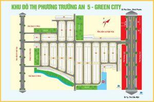 Mặt bằng tổng quan dự án Khu đô thị Phương Trường An 5 gồm 742 nền nhà phố, biệt thự có diện tích từ 70m2 đến 143m2